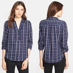 Joie Fara B Plaid Ruffle Neck Long Sleeve Shirt